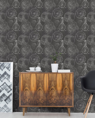 Horlogerie Wallpaper in Anthracite from the Eclectic Collection by Mind the Gap