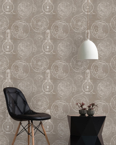 Horlogerie Wallpaper in Taupe from the Eclectic Collection by Mind the Gap