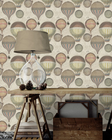 Hot Air Wallpaper in Taupe and Multi from the Eclectic Collection by Mind the Gap