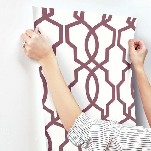 Hourglass Trellis Wallpaper in Burgundy from the Geometric Resource Collection by York Wallcoverings