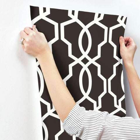 Hourglass Trellis Wallpaper in White and Black from the Geometric Resource Collection by York Wallcoverings