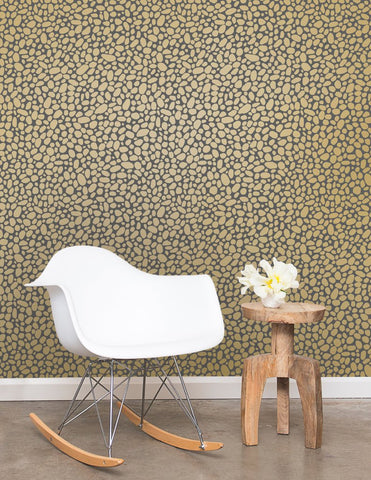 Hoya Wallpaper in Gold on Charcoal design by Juju