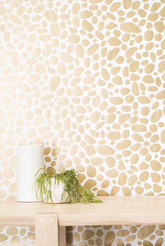 Hoya Wallpaper in Gold on Cream design by Juju
