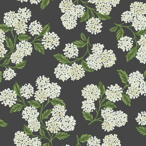 Hydrangea Wallpaper in Black and White from the Rifle Paper Co. Collection by York Wallcoverings