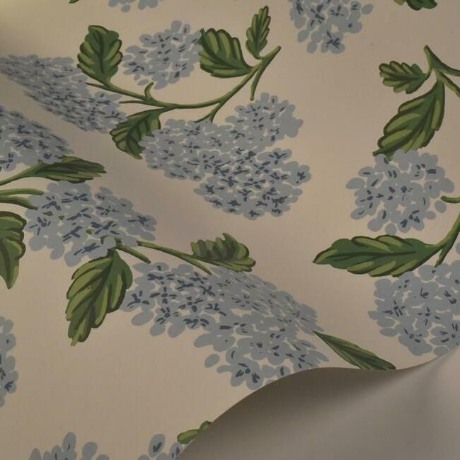 Hydrangea Wallpaper in Blue and White from the Rifle Paper Co. Collection by York Wallcoverings