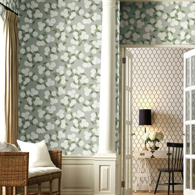 Hydrangea Wallpaper in Grey from the Rifle Paper Co. Collection by York Wallcoverings