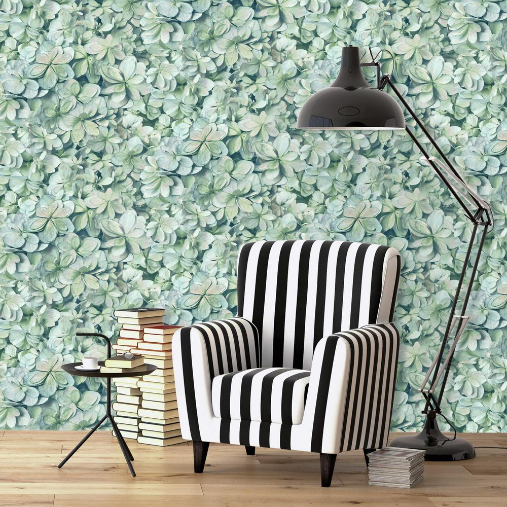Hydrangea Bloom Peel Stick Wallpaper In Green And Blue By