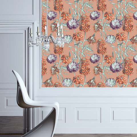 Hydrangea Self Adhesive Wallpaper in Saffron design by Tempaper