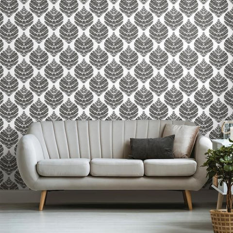 Hygge Fern Damask Peel & Stick Wallpaper in Black by RoomMates for York Wallcoverings