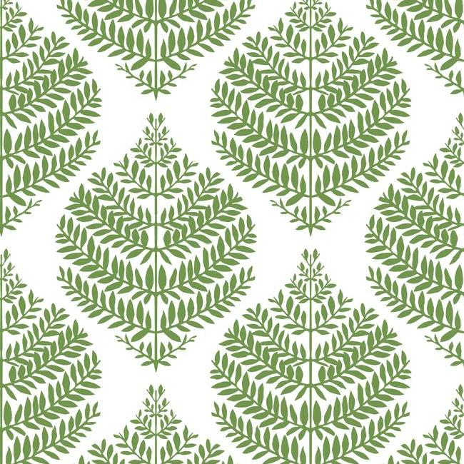 Hygge Fern Damask Peel & Stick Wallpaper in Green by RoomMates for York Wallcoverings