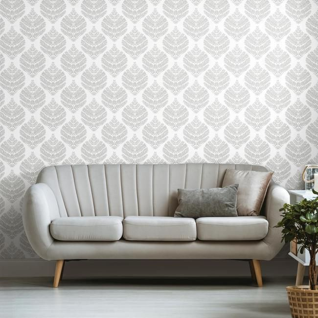 Hygge Fern Damask Peel & Stick Wallpaper in Grey by RoomMates for York Wallcoverings