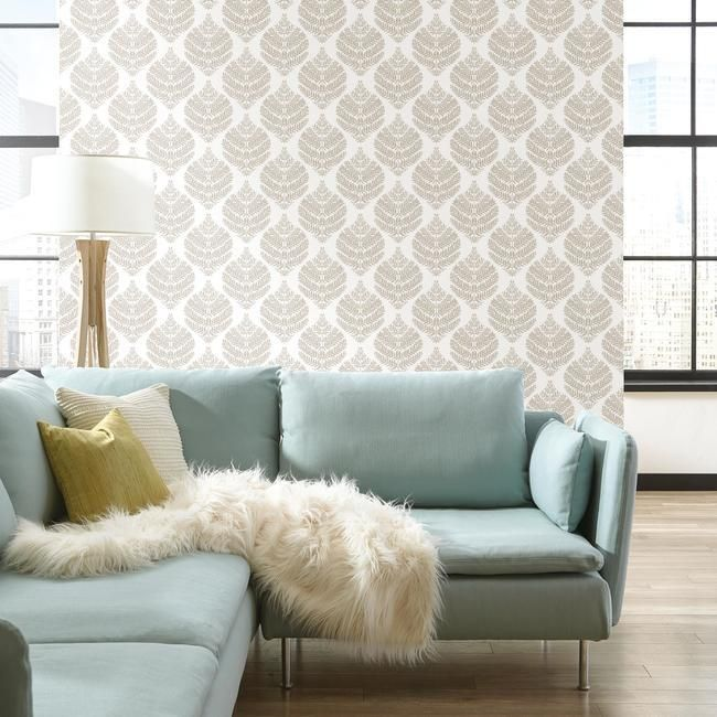 Hygge Fern Damask Peel & Stick Wallpaper in Taupe by RoomMates for York Wallcoverings