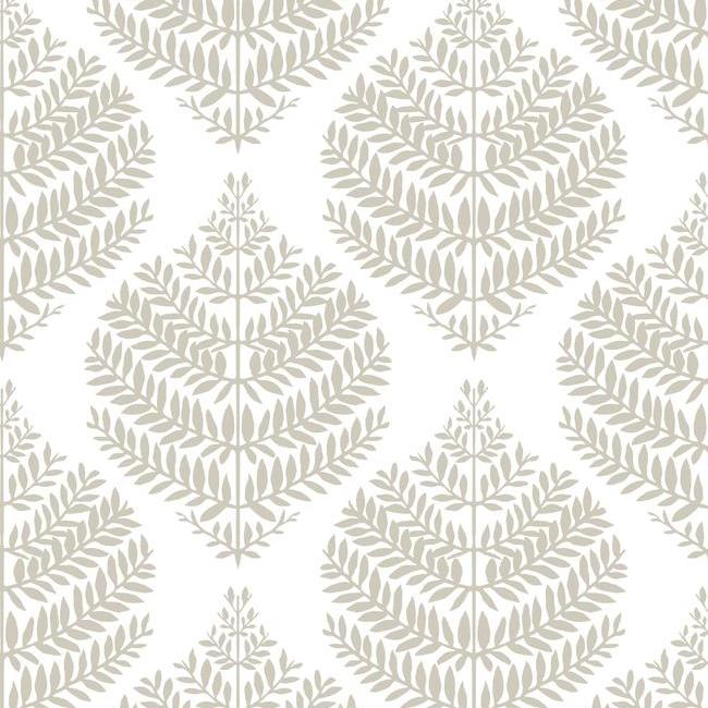 Sample Hygge Fern Damask Peel & Stick Wallpaper in Taupe by RoomMates for York Wallcoverings