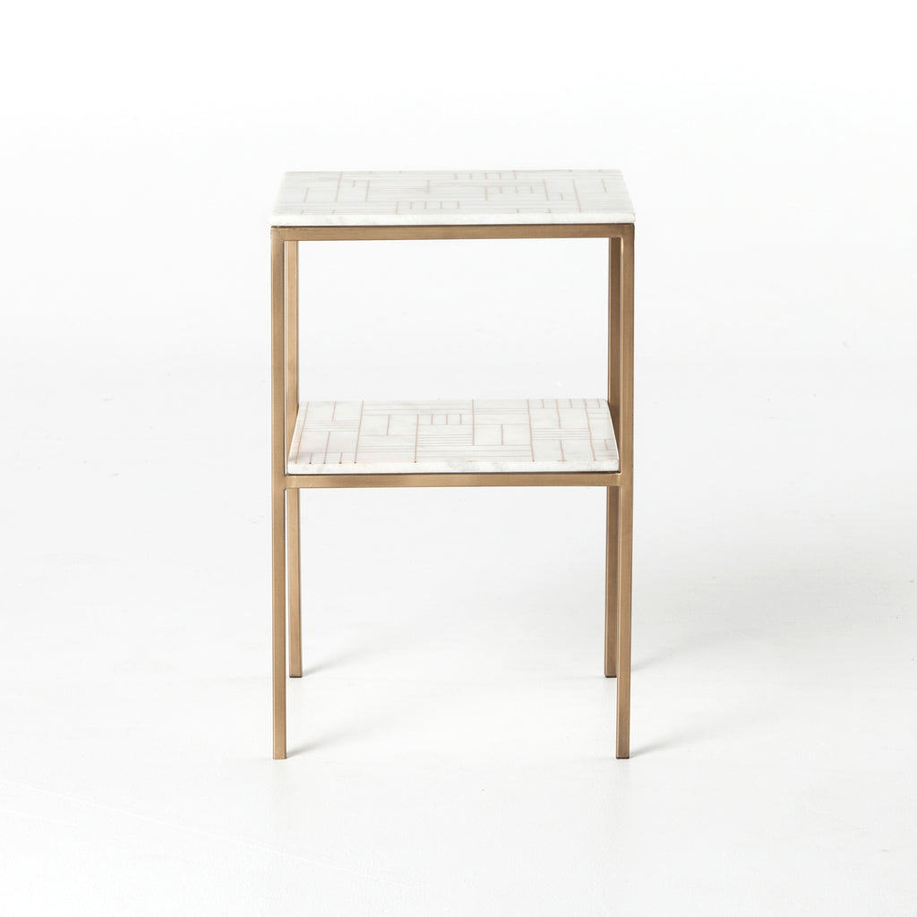 Piet Printed Marble Nightstand in Antique Brass & Piet Screen Print Marble by BD Studio