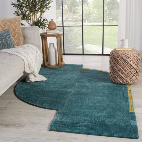 Zephyr Handmade Abstract Teal & Gold Rug by Jaipur Living