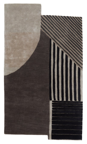 Ginata Handmade Geometric Grey & Black Rug by Jaipur Living