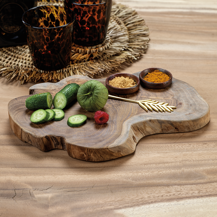 Bali Teak Root Serving Board with Condiment Bowls