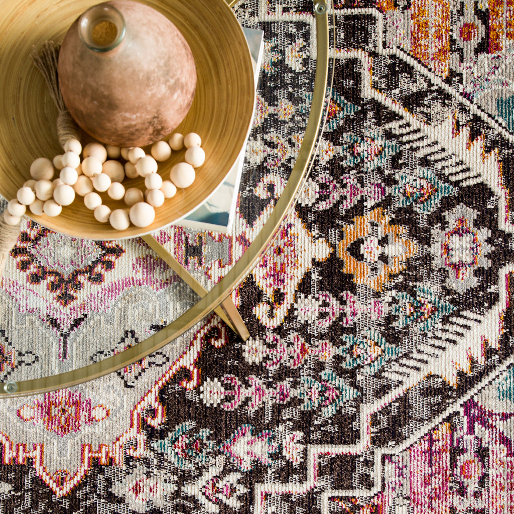 Farra Indoor/ Outdoor Medallion Brown/ Pink Rug design by Jaipur