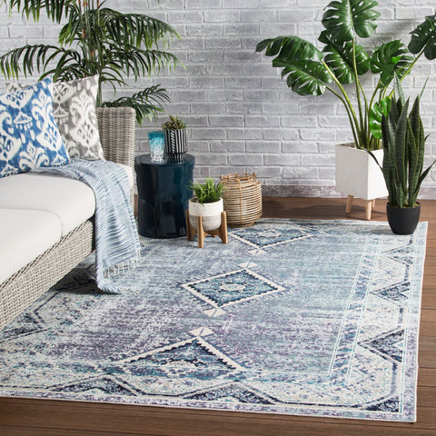 Zhara Indoor/ Outdoor Medallion Blue & Purple Area Rug