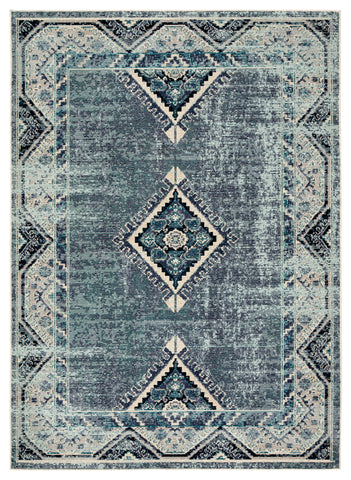Zhara Indoor/ Outdoor Medallion Blue/ Purple Rug design by Jaipur