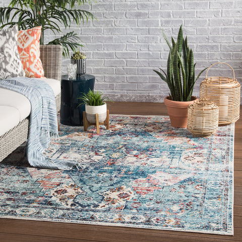 Farra Indoor/ Outdoor Medallion Multicolor & Blue Area Rug