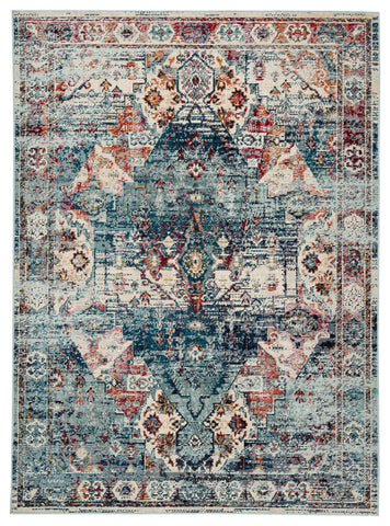 Farra Indoor/ Outdoor Medallion Multicolor/ Blue Rug design by Jaipur