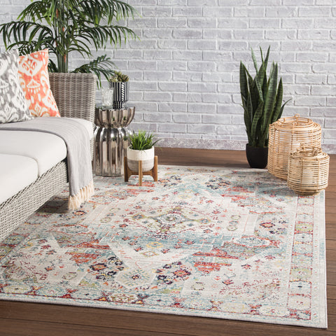 Farra Indoor/ Outdoor Medallion Multicolor & Green Area Rug