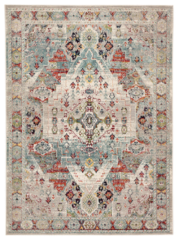 Farra Indoor/ Outdoor Medallion Multicolor/ Green Rug design by Jaipur