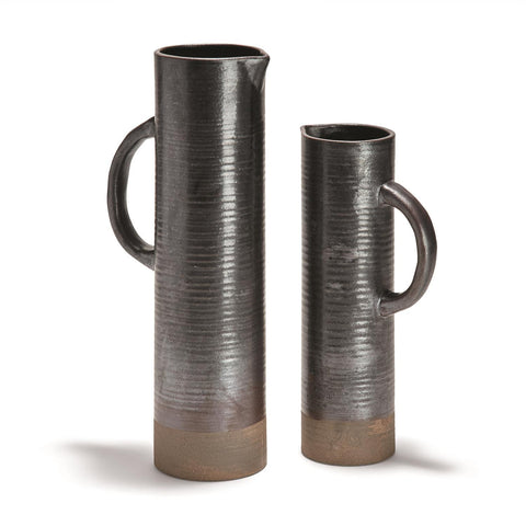Set of 2 Tall Pitchers with Sandy Bottom Finish