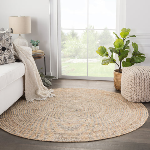 Hastings Natural Solid Beige & Gray Area Rug