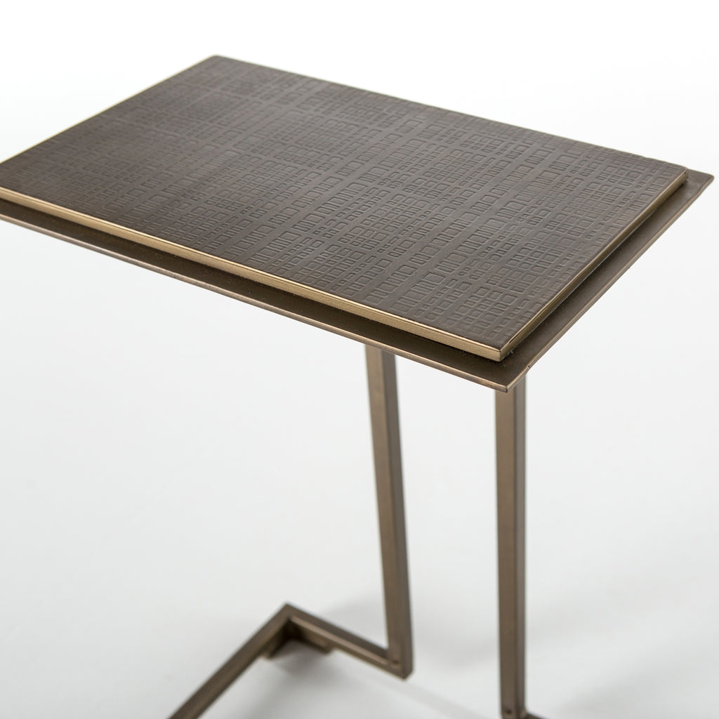 Acid Etch C Table in Antique Brass