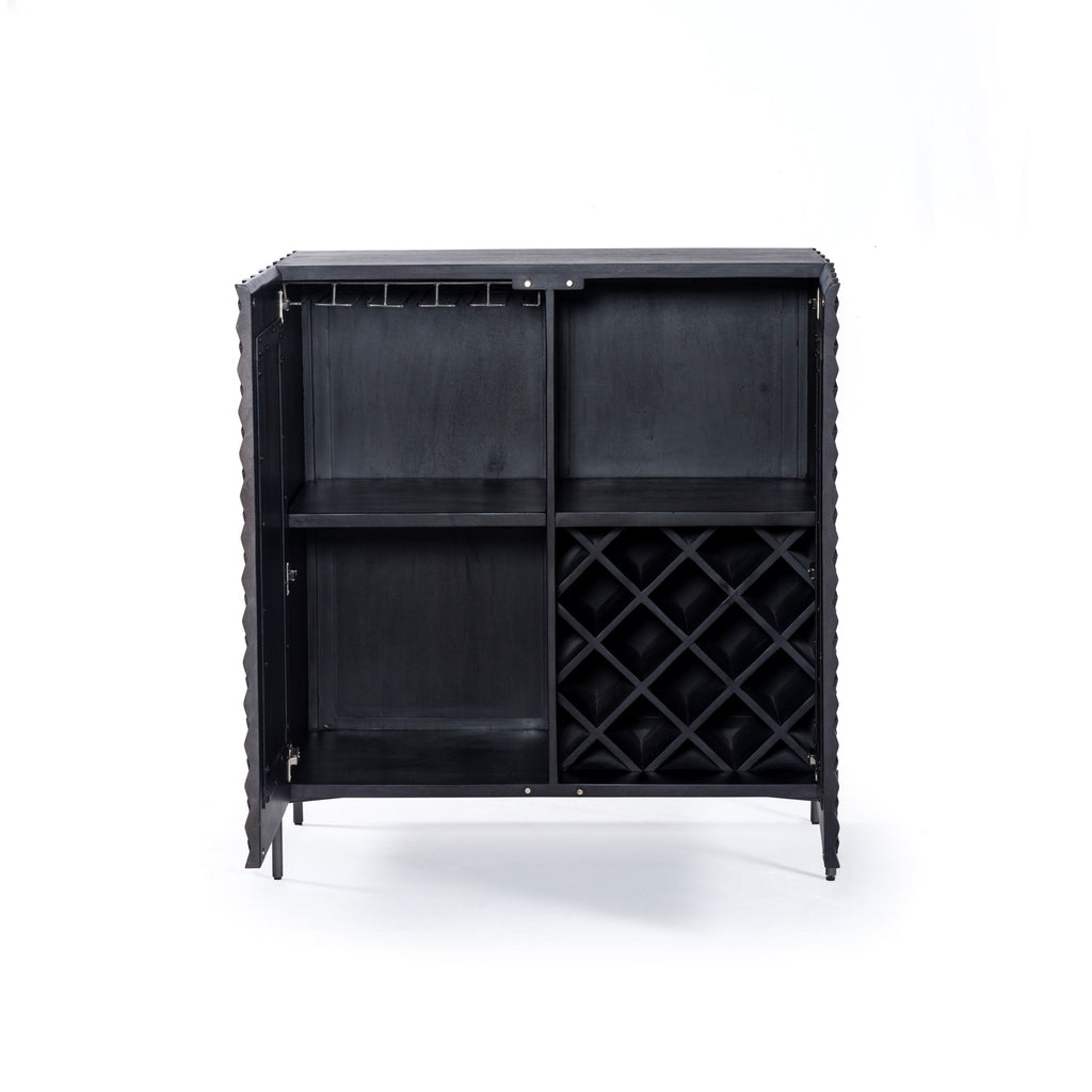Raffael Bar Cabinet in Carved Black Wash