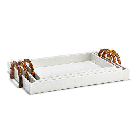 White Crocodile Set of 3 Decorative Rectangle Trays with Bamboo Handles