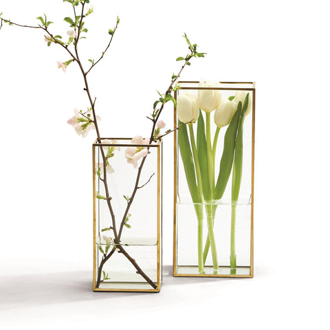 Windows Set of 2 Square Vases with Gold Metal Trim