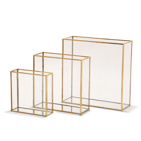 Windows Set of 3 Square Vases with Gold Metal Trim