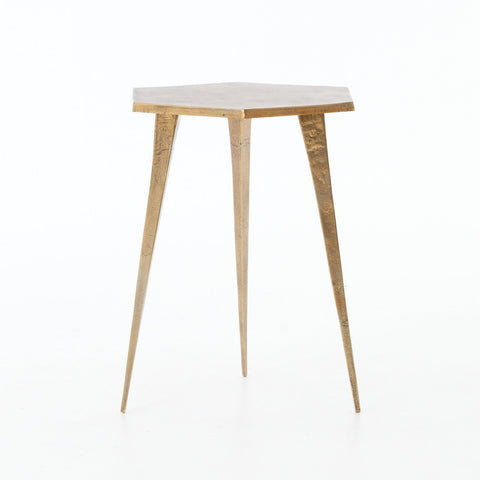 Hex End Table in Raw Brass