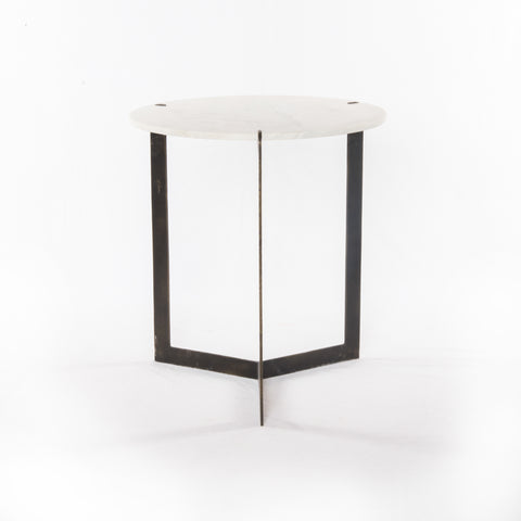 Kiva End Table in Hammered Brass