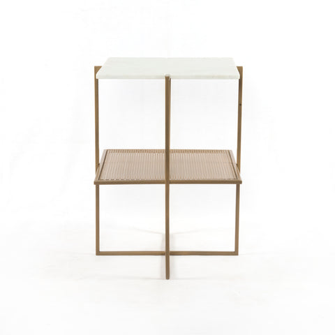 Olivia Nightstand In Antique Brass Polished White Marble