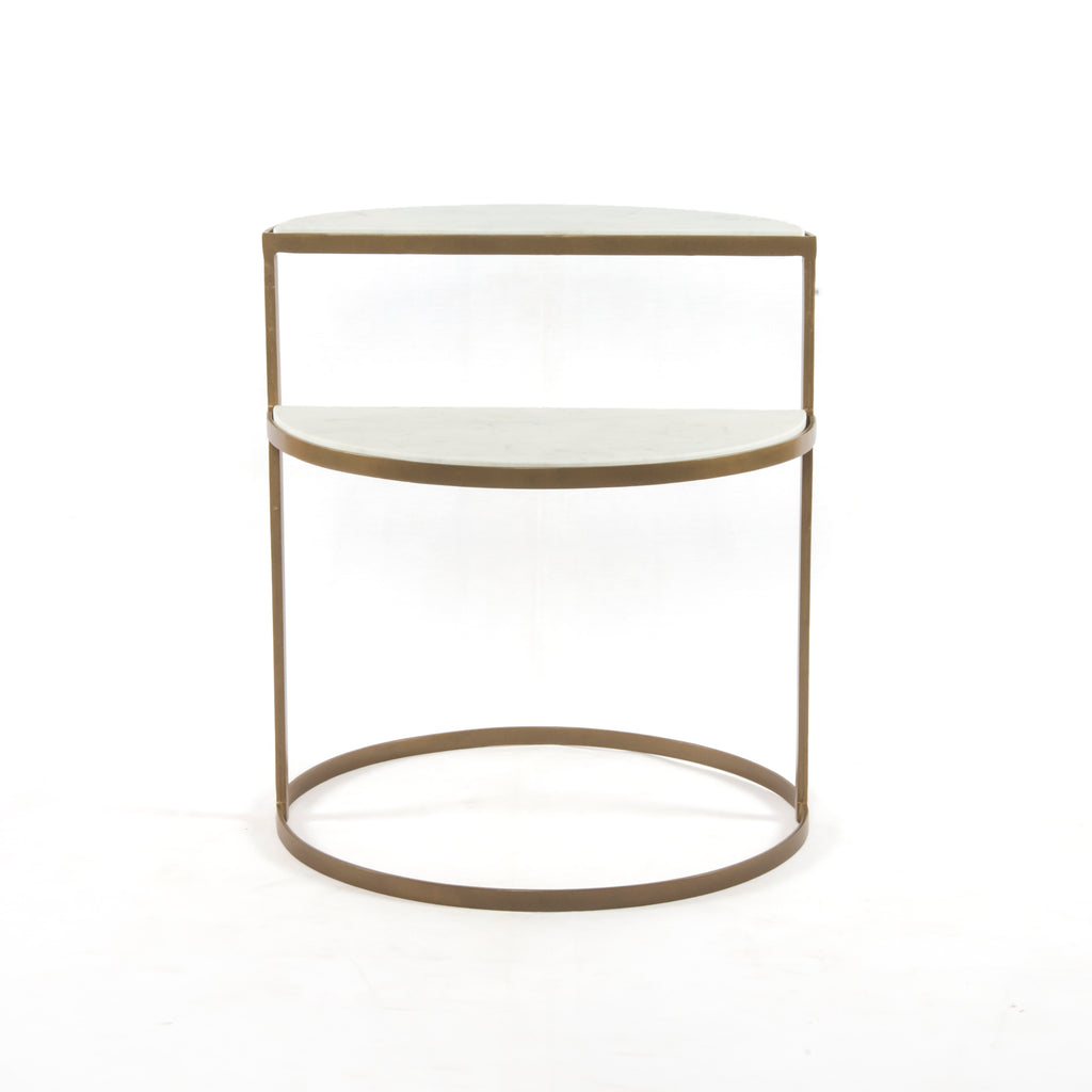 Bonnell Nightstand in Antique Brass & Polished White Marble by BD Studio