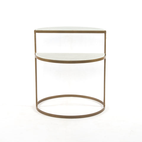 Bonnell Nightstand in Antique Brass & Polished White Marble