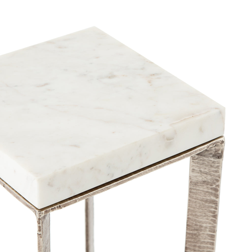 Lennie End Table In Brushed Nickel Burke Decor
