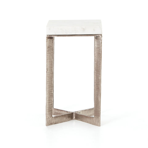 Lennie End Table in Brushed Nickel by BD Studio