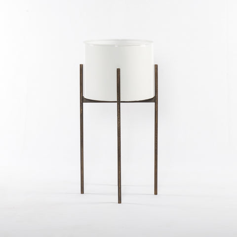Jed Tall Planter in White High Gloss