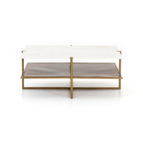 Olivia Square Coffee Table In Polished White Marble