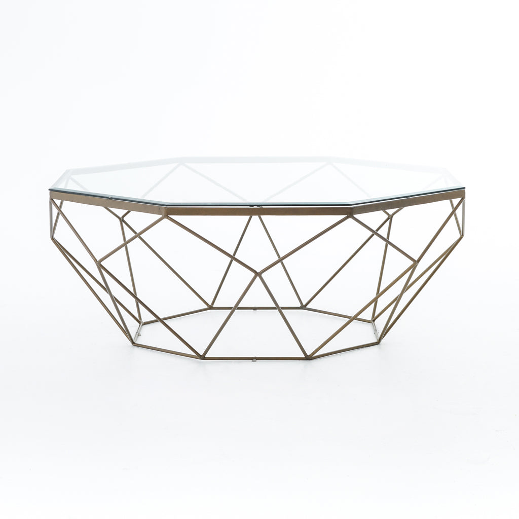 Geometric Coffee Table in Antique Brass