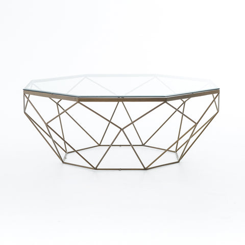 Geometric Coffee Table in Antique Brass by BD Studio