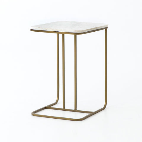 Adalley C Table in Polished White Marble