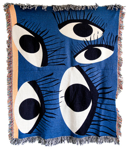 Old Blue Eyes Woven Throw Blankets by elise flashman