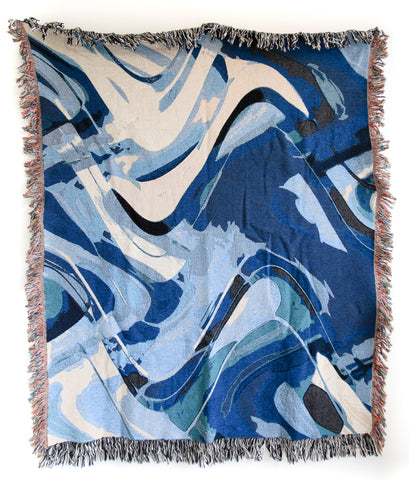 Depths Woven Throw Blankets by elise flashman