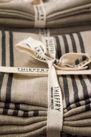 Thieffry Set of Two Dish Towels Linen Hardelot Black & Natural